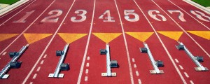 Starting Blocks at Vacant Starting Line Before Event